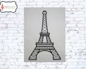 Eiffel tower machine embroidery design. French embroidery design, quick and easy to add some flare to your project, 4 x 4, 5 x 7, 6 x 10.