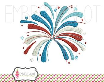 Fireworks machine embroidery design. Super cute patriotic embroidery. Fireworks embroidery adds a splash of colour.