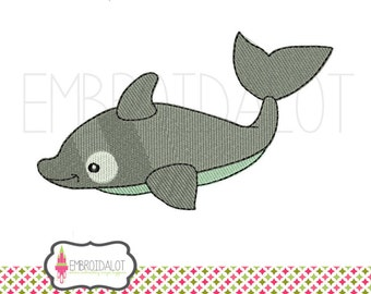 Dolphin embroidery design. Cute filled dolphin machine embroidery. Fun summer embroidery for beach items.