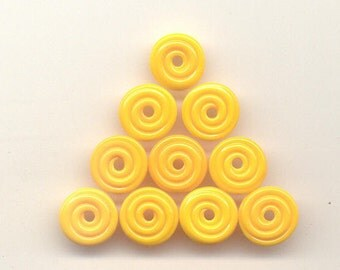 Tom's handmade lampwork opaque dark yellow 10 MINI disc spacer/drop set 12mm,  97196