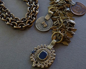 Brass leaf necklace withAfghan pendant and coins