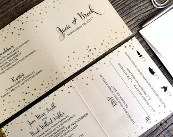 Wedding Invitations - Gold & Cream Tri-Fold Wedding Invitations Suite -- Customize and personalize to your needs (189)