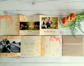 Tri Fold Wedding Invitation - includes a PERFORATED RSVP CARD - Kristin & Kevin (30)