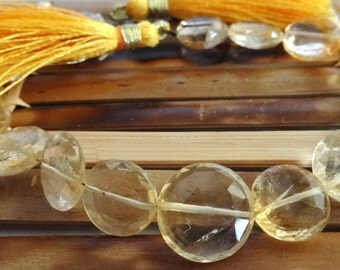 Citrine Coins, Faceted Citrine Coin Bead Strand, Citrine Briolettes , FULL STRAND ,  Citrine Quartz Gemstone Bead