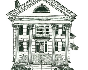 Customized Home Architecture Portrait in Black and White Pen and Ink
