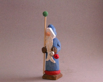 Wood carved Santa with blue robe