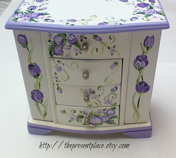 Large white jewelry boxmusical box personalized by for Girls large jewelry box