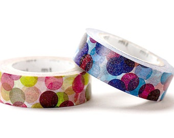 1 DOLLAR SALE-Discontinued - MT 2011 Japanese Washi Masking Tapes / Colorful Spots Blue or Wine for Gift Wrapping and Party Favor