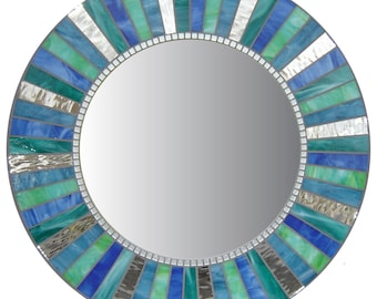 Round Wall Mirror - Silver, Denim Blue, Sea Green