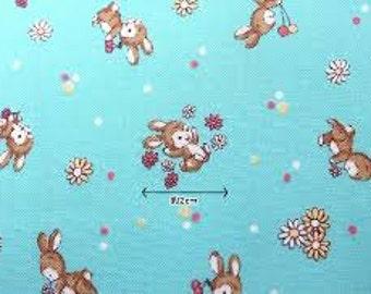 Yuwa Live Life Sunday 9 am aqua bunny Japanese quilt fabric - zakka - Atsuko Matsuyama