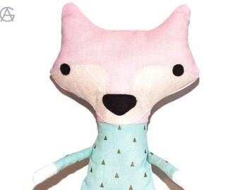 Stuffed animal | Plush fox | Cute design | Tiny print fabric | Pink cotton pastel color applique detail