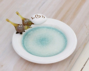 Personalized birds ceramic dish with initials, love birds ring dish, custom ring holder