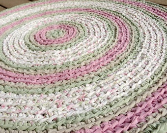 rag rug - pink, green round recycled crochet