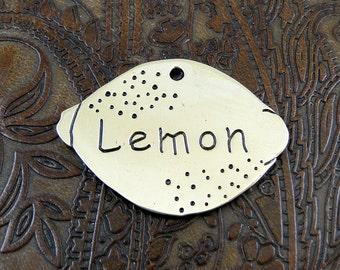 Personalized Lemon Dog ID Tag-Handmade Pet ID Tag-Dog Collar ID Tag-Custom Dog Collar Tag-Lemon Dog Tag