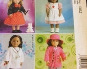 Pattern  18 inch Doll Clothes   McCalls 7031 Top, Skirt, Pants, Dress, Apron and Cap, Jacket, Hat, Shoes, Bunny, Bag