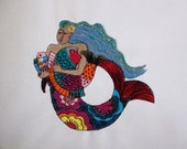 5 Mermaid Embroidered Quilt Blocks
