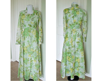 Vintage 70s Green foral maxi dress - bridesmaid - stage costume - party dress size 14-16 bust 40
