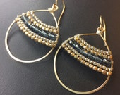 14k gold fill wrapped earrings in mixed metal and Bluish grey crystals