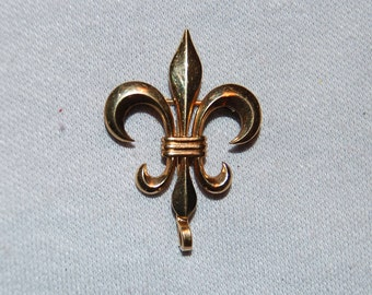 Vintage / Signed / Watch / Pin / Gold Filled / Fleur de Lis / BB / Brooch / old jewelry / jewellery