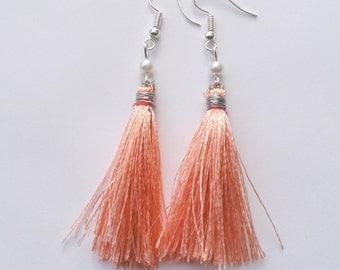 Peach Tassel Earrings, Pearl Earrings, Tassle Earrings, Pearl Drop Earrings, Silver Earrings, Peach Earrings