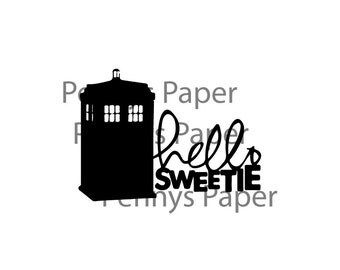 "Dr. Who and River ""Hello Sweetie""  Inspired Paper Cut File for silhouette or circut - SVG file - Srapbooking and Paper Art DYI"