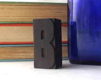 "vintage 20's 2"" letter B wood letterpress printers block stamp old antique retro decorative home decor aged weathered character small accent"