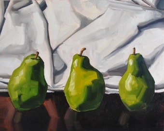 Still life painting- Three Pears - 11x14 - fruit oil painting by Sharon Schock