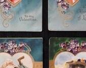 Set of 4 Victorian Valentine Postcards