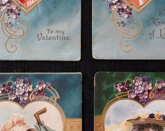 Set of 4 Victorian Valentine Postcards
