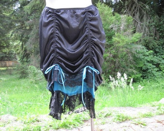 Black and Teal Up-Cycled Slip Skirt