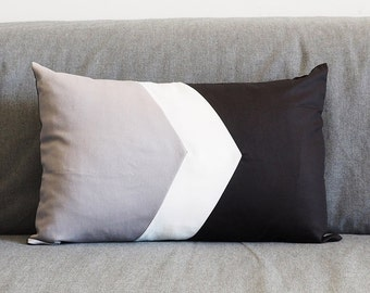 Geometry Pillow Cover III Gray White & Black 12X18""