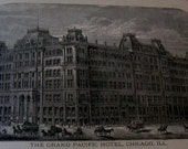 Grand Pacific Hotel Chicago Illinois Original Advertising 1890's Magazine Ad