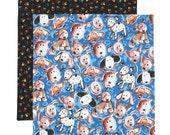 Fabric School Napkin, Kids Cloth Napkin, Lunchbox Napkin, Cloth Lunch Napkin, Blue Puppy Dog Napkin, 1 double sided fabric napkin