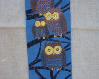 Vintage Linen Wall Hanging With An Owl Family Emroidery in a Tree Under the Full Moon With Black Metal Hanger