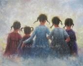 Five Sisters Art Print from original oil painting, five girls, pigtails, wall art prints, sisterhood, best friends, friends, Vickie Wade Art