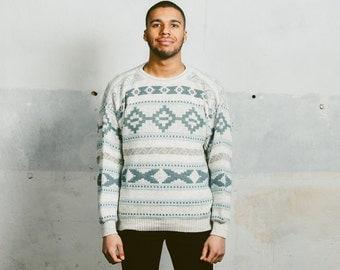 Mens 90s Grunge AZTEC Print Sweater . Vintage Patterned Boyfriend Sweater Pullover Jumper Geometric 1990s Southwestern Casual . Small Medium