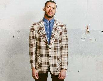 Mens PLAID Blazer . Vintage Summer 80s Sport Coat Norfolk 1980s Checked Brown Beige Hipster Jacket Preppy Ivy League Style . Medium Large