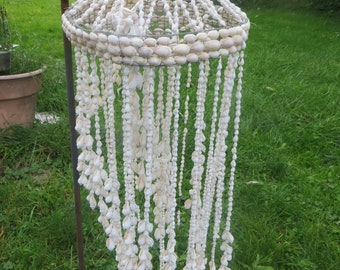 vintage large  natural sea shell wind chime mobile / seashell chandelier /  ocean beach house decor