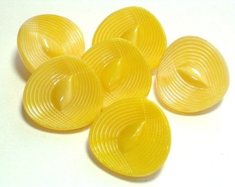 Vintage Modern Style Yellow Glass Buttons 22mm Sewing Buttons with shank Set 6