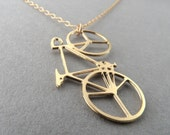 bicycle necklace, bicycle, bicycle jewelry, bicycle pendant, everyday necklace, statement necklace, unique necklace, gift for her, 24K gold
