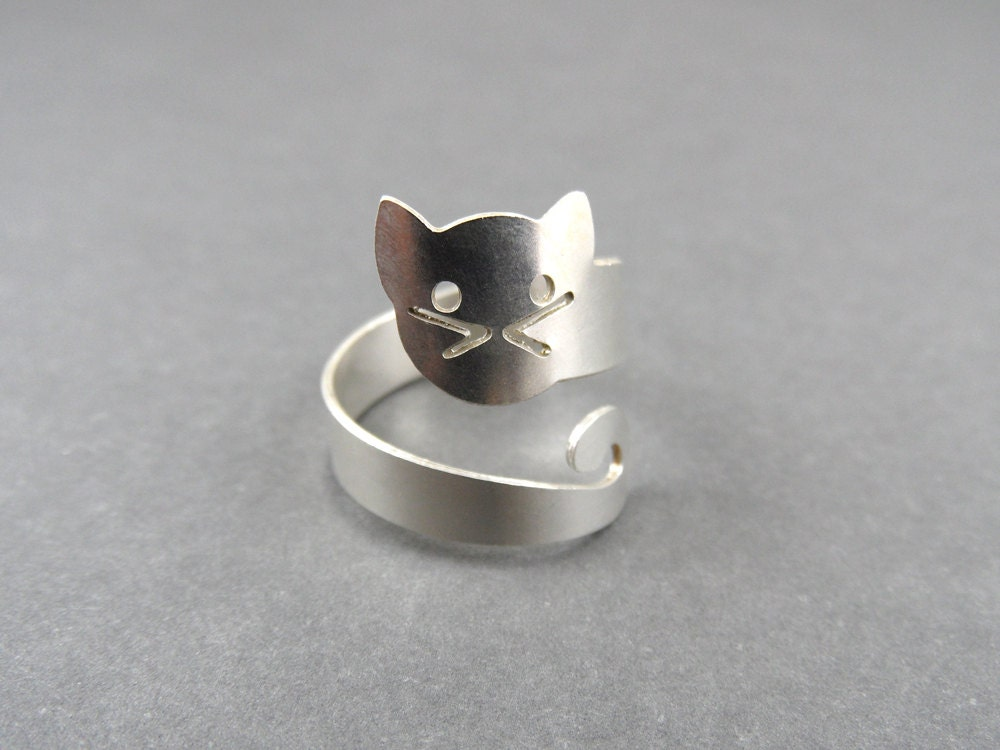 sterling silver cat ring cat ring silver ring animal ring