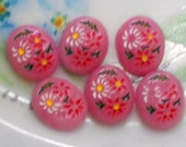 N982 Vintage Cabochons Pressed Glass Pink Floral Cabs Flowers10x8mm Intaglios Cottage Chic