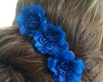 Hair Pin Set of 3 Midnight Royal Blue Flower Handmade Bun Chignon Bobby Hair Pin Wedding Bridesmaid Flower Girl Prom Special Occasion