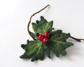 Christmas Brooch felt flower  Holly  Red Berry Christmas jewelry holiday  gift for her