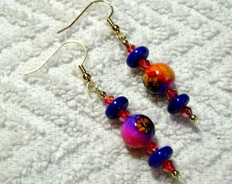 Cotton Candy - Funky Stippled Earrings - Dangle Earrings - Earrings - E128