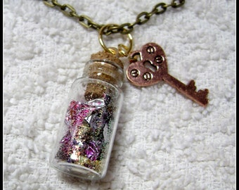 Glass Bottle Necklace - Glass Pendant - My Muse - Glass Bottle Pendant - GB-3