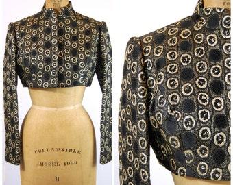 Vintage Richard Tam Brocade Bolero Jacket - Black and Gold Brocade - Short Jacket