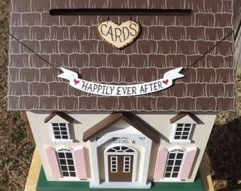 Happily Ever After or Just Married Banner added to your Wedding Card Box Ribbon Style or Tiles