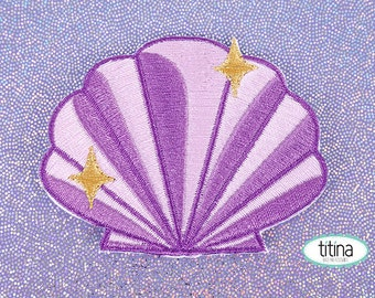 shine sea shell embroidered iron-on patch
