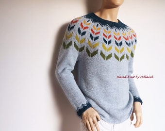 Multicolored Men's sweater Hand knit men's sweater Colorful knitwear gift for men Ready to ship SAMPLE SALE